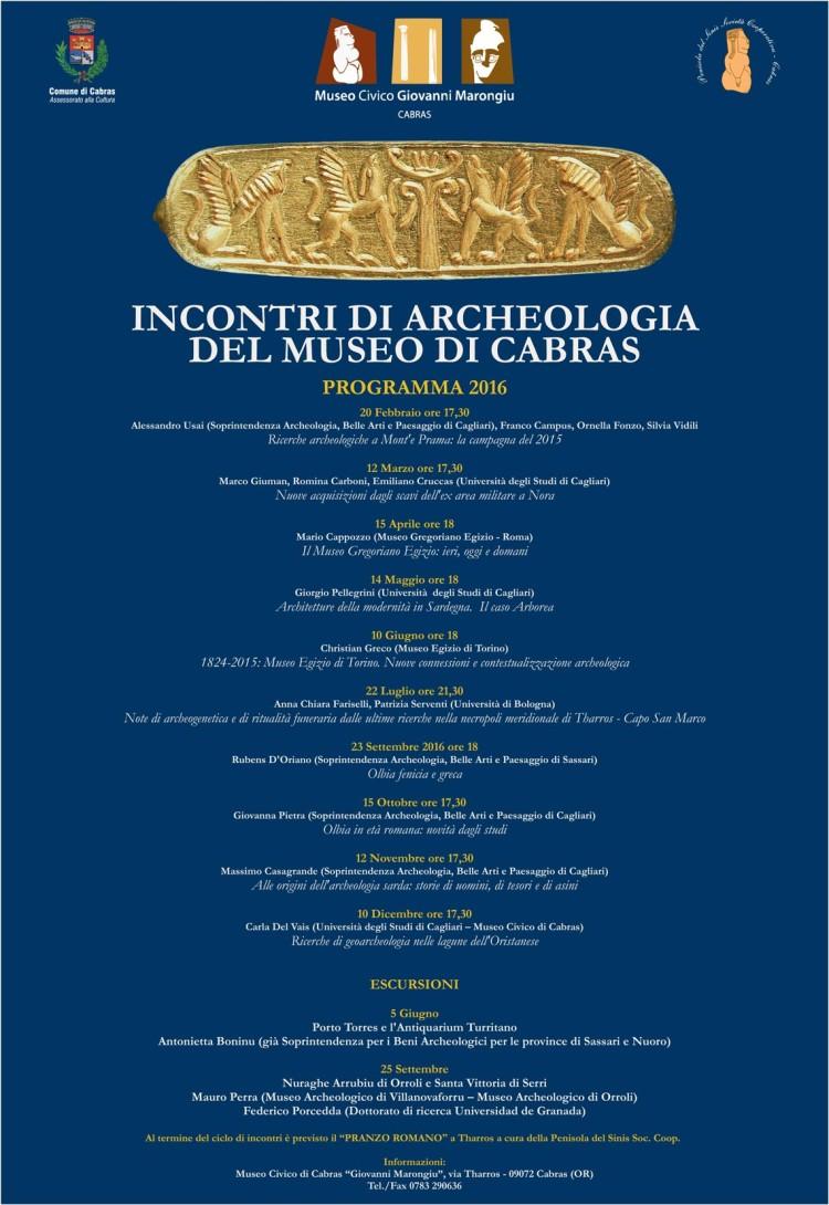 Incontri di Archeologia del Museo di Cabras - 2016